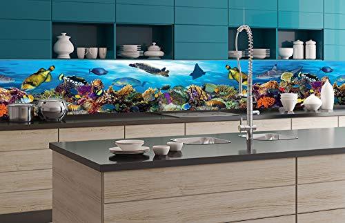 DIMEX LINE Küchenrückwand Folie selbstklebend Fische IM Ozean | Klebefolie - Dekofolie - Spritzschutz für Küche | Premium QUALITÄT - Made in EU | 350 cm x 60 cm