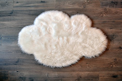 "Machine Washable Faux Sheepskin White Cloud Area Rug 32"" x 44"" - Soft and silky - Perfect for baby's room, nursery, playroom (2' 7"" x 3' 7"") - White Cloud"