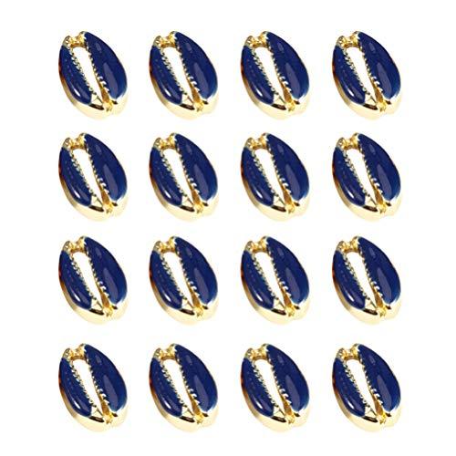EXCEART 20 Piezas de Colgantes de Concha de Mar de Aleacin de Perlas de Playa de Ocano Encantos de Collar de Pendientes para Manualidades DIY PROYECTO DE JOYAS Hallazgos Azul Oscuro