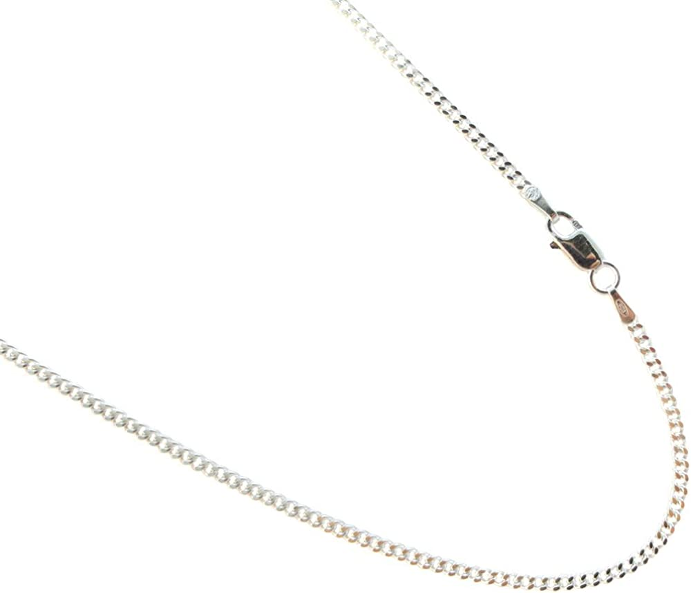 925 Sterling Silver Curb 2mm Chain Necklace 16 18 20 22 24 26 28 30 inches