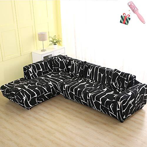 Funda Sofá de 3 plazas Universal Estiramiento, Morbuy Moderno Cubierta de Sofá Cubre Sofá Funda Furniture Protector Antideslizante Elastic Soft Sofa Couch Cover (3 plazas,Mármol Negro)