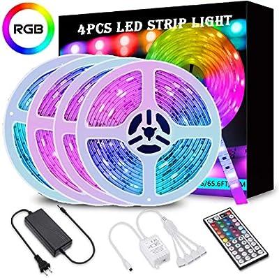 65.6FT/20M LED Strip Lights, Wrrlight RGB LED Light Strip 600 LEDs 5050 SMD Color Changing LED Strip Lights Flexible Tape Light Kit with 44 Keys IR Remote Controller for Kitchen Home Party(4x16.4FT)