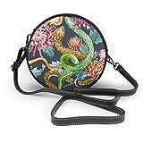 Bolso de mano para mujer, de piel sintética con cremallera, redondo, con diseño de crisantemo, para trabajo, viajes, citas, personalizado, con diseño de serpientes y flores, color negro
