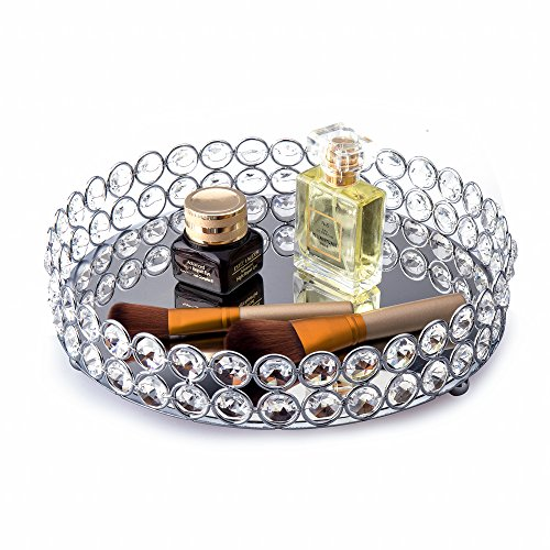 Feyarl Crystal Cosmetic Makeup Tray Jewelry Trinket Tray Organizer Vanity Tray Mirrored Decorative Tray Home Deco Dresser Perfume Skin Care Tray for Christmas Brithday Gift(Round 10' inch) (Silver)