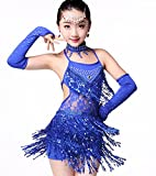 Vestido de baile latino con flecos profesional para niña, vestidos de baile de salón para niñas, vestidos de baile de salón con lentejuelas, Rumba Salsa, ropa de baile para fiesta de carnaval ,Azul,M