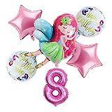 Yanqhua Globo New Little Fairy Girls Globos 32 Pulgadas Pink Number Girl Ballon 1 2 3 4 5st Feliz Cumpleaños Fiesta Set Decortion (Color : Eight Years Old)