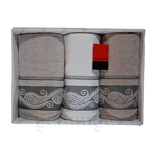 Pierre Cardin - Juego de toallas de baño 3 + 3 (3 caras y 3 invitados) modelo Laura (beige/blanco/pardo