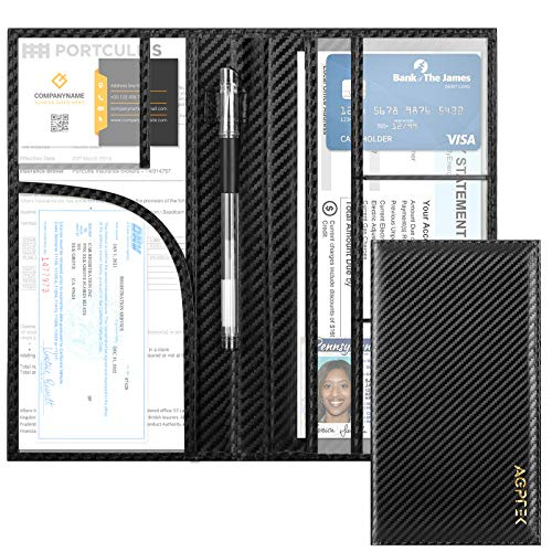 Car Registration and Insurance Holder, AGPTEK RFID Car Document Organizer with Pen Strap and Magnetic Closure, Premium Leather Wallet for Vehicle Paperwork and Cards, Black
