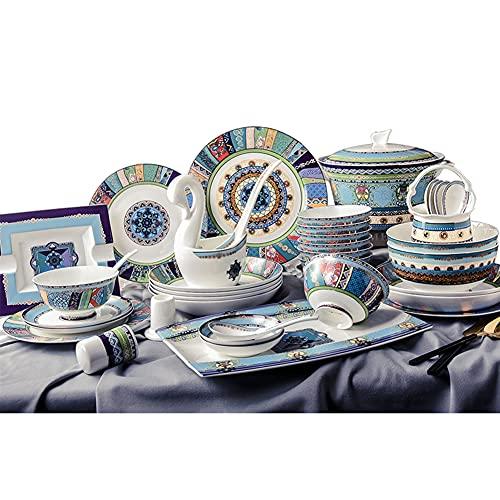Juego de vajilla de 60 piezas, juego de vajilla de porcelana de porcelana con platos, mantel individual, juego de vajilla de cerámica para cocina, servicio para 10