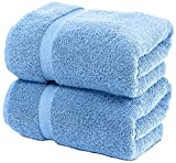 White Classic Luxury Bath Sheet Towels Extra Large | Highly Absorbent Hotel spa Collection Bathroom Towel | 35x70 Inch | 2 Pack (Light Blue)