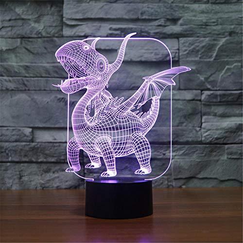 3D LED noche luz ilusión lámpara pterodáctilo con control remoto, decoración del dormitorio personalizada creativa regalo de cumpleaños para niño niño niño niño pequeño
