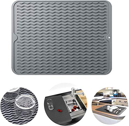 Silicone Dish Drying Mat,15.8' x 12' Heat Resistant Mat,Easy Clean drainboard mat, Non-Slip Dish Drainer Pad for Kitchen Counter