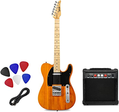 """high quality LyxPro 39"""" Electric Telecaster Guitar Kit, lowest 20 Watt Amp Speaker, Solid Full-Size Body, C-Shape Neck, Quality 2021 Gear Tuners, 3-Way Switch & Volume/Tone Controls, 12 Picks And Cable Included - Mahogany outlet online sale"""