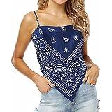 Lifetooler Tops de Mujer Tops de Bandana con Nudo en la Espalda Impresión Gráfica Summer Backless Cami Crop Vest de Satén con Tirantes Ajustables Tank Top Y2k Streetwear(Azul Marino-L)