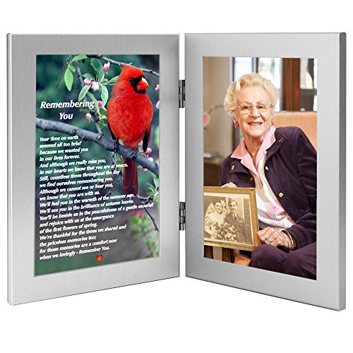 Remembering You Memorial Photo Frame - Sympathy Gift for The Loss of Loved One - Funeral Gift That Will Become a Family Keepsake with Beautiful Poem on Cardinal Print, Add 4x6 Inch Photo