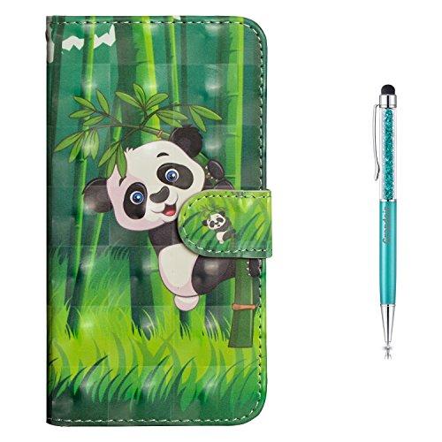 Grandoin Galaxy A6 Plus 2018 Hülle, Handyhülle im Brieftasche-Stil für Samsung Galaxy A6 Plus 2018 Handytasche PU Leder Flip Cover 3D Bunte Muster Schutzhülle Etui Hülle (Panda)