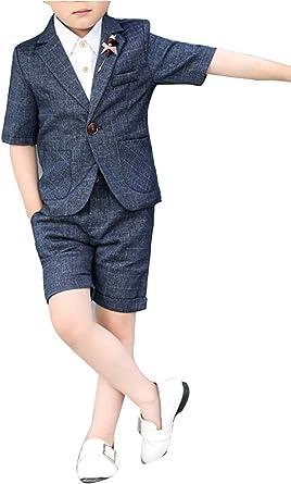 Niño Verano Anfitrión Flor Niño Boda Corta 3 Piezas Trajes Chaqueta de Sport Camisa con Pantalones