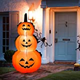 Tangkula 6 Ft Halloween Inflatable LED 3 Pumpkins Stack, Blow Up Flashing Lights 3 Pumpkins, Outdoor Indoor Holiday Family Decorations for Home Yard Party, Halloween Inflatable Lights Pumpkin