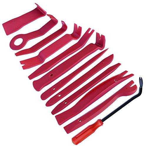 homEdge Auto-Trim-Kit zum Entfernen von 12 Stück, Werkzeug-Kits für Autoradio-Installation, Polster-Entfernungskit Pry Bar Scraper Set-Red
