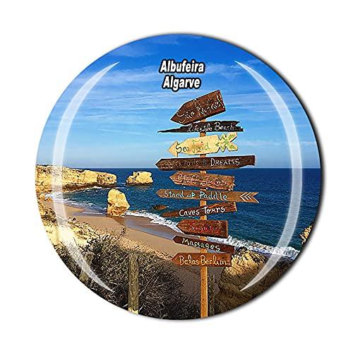 Imán para nevera de Albufeira Algarve en 3D de Portugal con cristal de recuerdo de cristal para viajes, colección de recuerdos, regalo para el hogar y la cocina