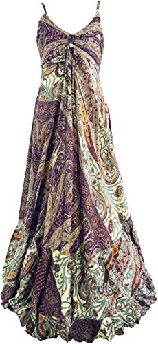 GURU SHOP Seidiges Maxikleid, Sommerkleid, Damen, Flieder, Synthetisch, Size:38, Lange & Midi-Kleider Alternative Bekleidung