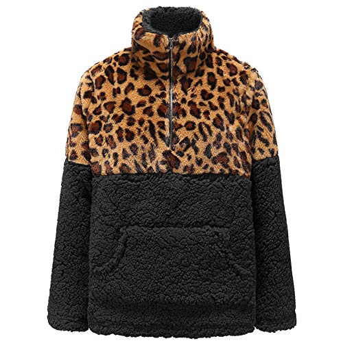 Round Neck Sweater, Winter Fashion Sweater, Ladies Leopard Print Long-Sleeved Plush Sports Jacket, 3D Printing Pullover for Girls Adult-Black_L