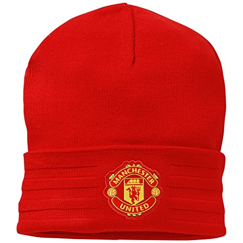 Adidas MUFC 3S Woolie Bonnet Unisexe, Rojo/Amarillo, OSFM