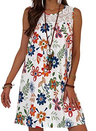Vestido casual sin mangas de cuello redondo para mujer, vestido de flores con estampado floral, vestido de encaje bordado de flores, ajuste holgado, casual, vestido de verano suelto