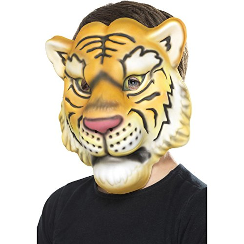 Smiffys Kinder Unisex Tiger Maske, One Size, Gelb und Schwarz, 46976