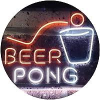 Beer Pong Bar Game Pub Dual Color LED看板 ネオンプレート サイン 標識 白色 + オレンジ色 300 x 210mm st6s32-i3495-wo