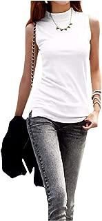 XINHEO Women's Sleeveless T-Shirts Turtleneck Cotton Summer Tank Top