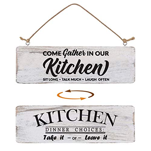 Kitchen Signs Wall Decor Double Sided, Farmhouse Kitchen Signs for Home Decor Wall, Home Sign Wall Decor Inspirational Rustic Wooden Wall Art Decor Home Decor
