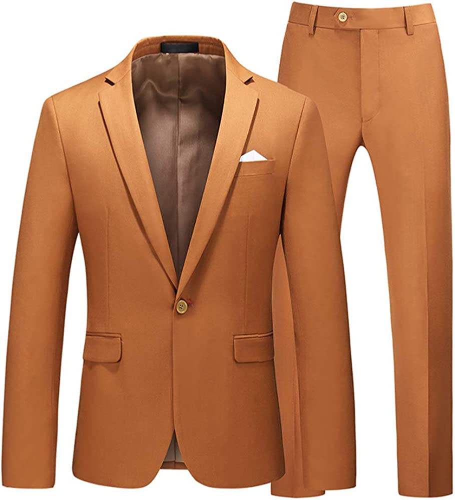 MMCICI Mens 2 Pieces Suits One Button Single Breasted Slim Fit Notch Lapel Tuxedo Daily Business Prom Blazer Pants Sets