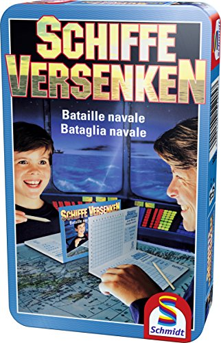 Schmidt Spiele 51205 Schiffe versenken, Bring Mich mit Spiel in der Metalldose, blau