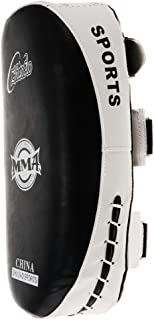 Fenteer FC MMA ムエ キック ボクシング ストライク カーブド アーム レッグ パッド パンチ 品質 耐久 PU製 白黒