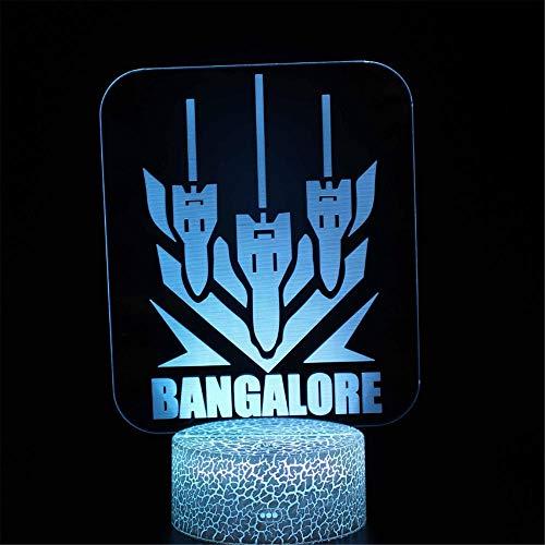 Lámpara de ilusión óptica 3D 3D luz nocturna APEX Legends BANGALORE 16 colores regulable con control táctil USB con mando a distancia para niños y niñas