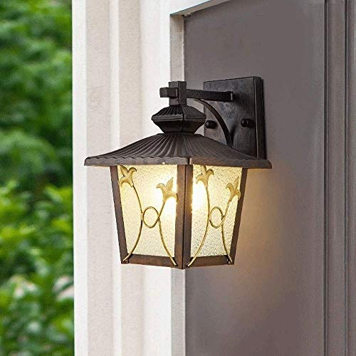 Vierkante glazen Lantern wandkandelaar Light Vintage, Outdoor Waterdichte Rustproof Wandlamp Buiten Decoratie Aluminium Metal, Wall Lantaarn for Corridor Villa Patio Garden