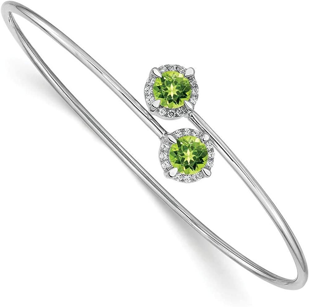 Solid 14k White Gold Peridot Green August Gemstone Flexible Bangle Cuff Bracelet 7