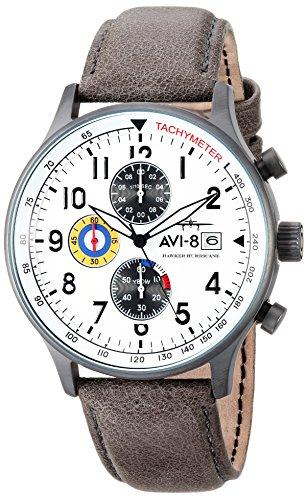 AVI-8 Men's Hawker Hurricane Stainless Steel Japanese-Quartz Aviator Watch with Leather Calfskin Strap, Grey, 21 (Model: AV-4011-0B)