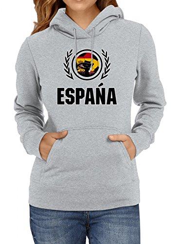 Shirt Happenz Spanien WM 2018#2 Premium Hoodie Trikot Fußball Fan Nationalmannschaft Frauen Kapuzenpullover, Farbe:Graumeliert;Größe:L