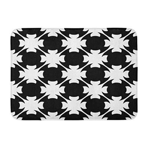 Alfombras de baño de celosía marroquí, monocromático, negro abstracto, amplificador, textura geométrica blanca, alfombra de baño antideslizante, alfombra de baño absorbente, alfombra de baño Dri-Soft