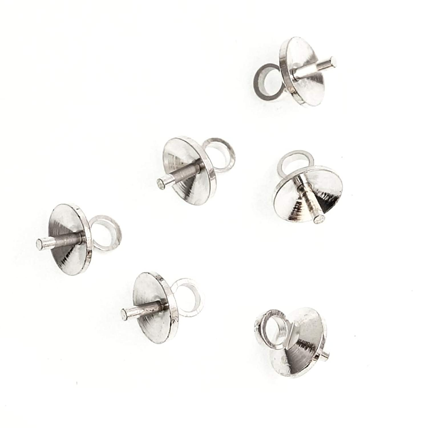 100pcs Top Quality Eye Pin Bail Charm Pendant Connectors 4mm Pearl Cup Sterling Silver Plated Brass Jewelry Craft Making Supplies CF226-4