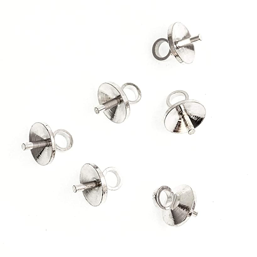 100pcs Top Quality Eye Pin Bail Charm Pendant Connectors 6mm Pearl Cup Sterling Silver Plated Brass Jewelry Craft Making Supplies CF226-6