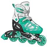 Roller Derby Girls Tracer Adjustable Inline Skates (Mint, Medium (2-5))