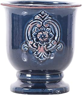 Little Green House Ceramic Dark Blue Round Vase - Medium