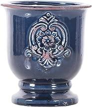 Little Green House Ceramic Dark Blue Round Vase - Medium