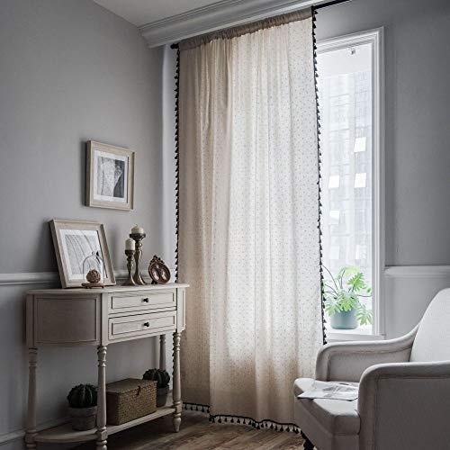 CXL Vorhang Baumwolle und Leinen Gänseblümchen drucken Schwarze Quaste einfache Schlafzimmer Vorhänge Halbschattierung schwimmende Vorhang-Haken Modelle