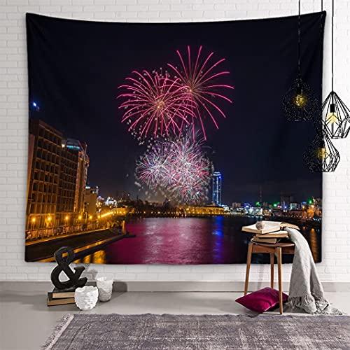 YUNSAK TapisserieTapeçaria decorativa Bonita série de fogos de artifício impressa decoração de casa decoração férias