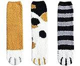 CheChury Gato Calcetines 6 pares de Calcetines Mujer Invierno Garras de Gato Calcetines Rruesos y Cálidos para Dormir Calcetines de Felpa de Calcetines de Tubo Femeninos Suaves Regalos de Invierno