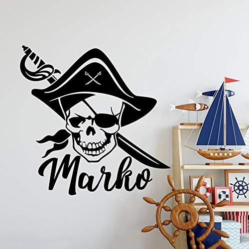 Vinilos piratas para pared.Adhesivo de vinilo con calavera y espada.Mural de pared de decoración de sala de juegos juvenil personalizado A6 57X57CM
